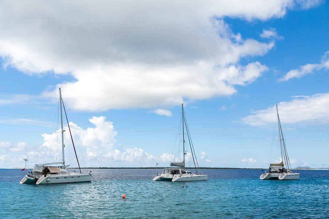 drei Katamarane segeln über das Meer