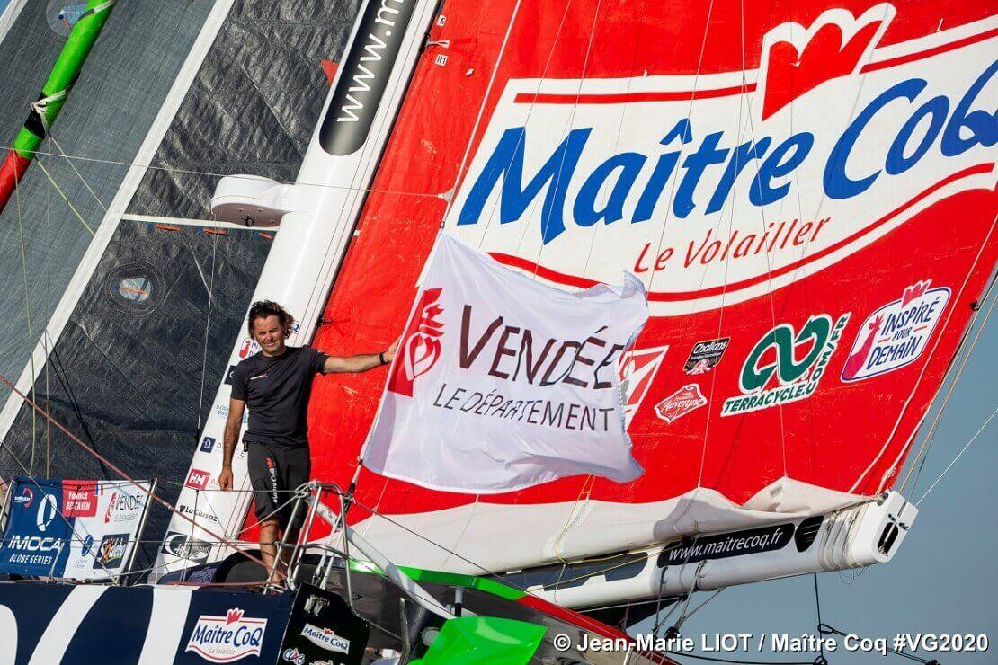 Yannick Bestaven auf seiner Maître Coq VI bei der Vendée Globe
