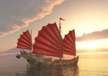 Marco Polo reist auf der Dschunke gen Westen