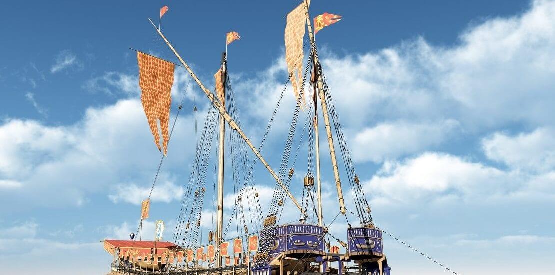 Die Galeere als ruderndes Segelschiff im Enterkampf