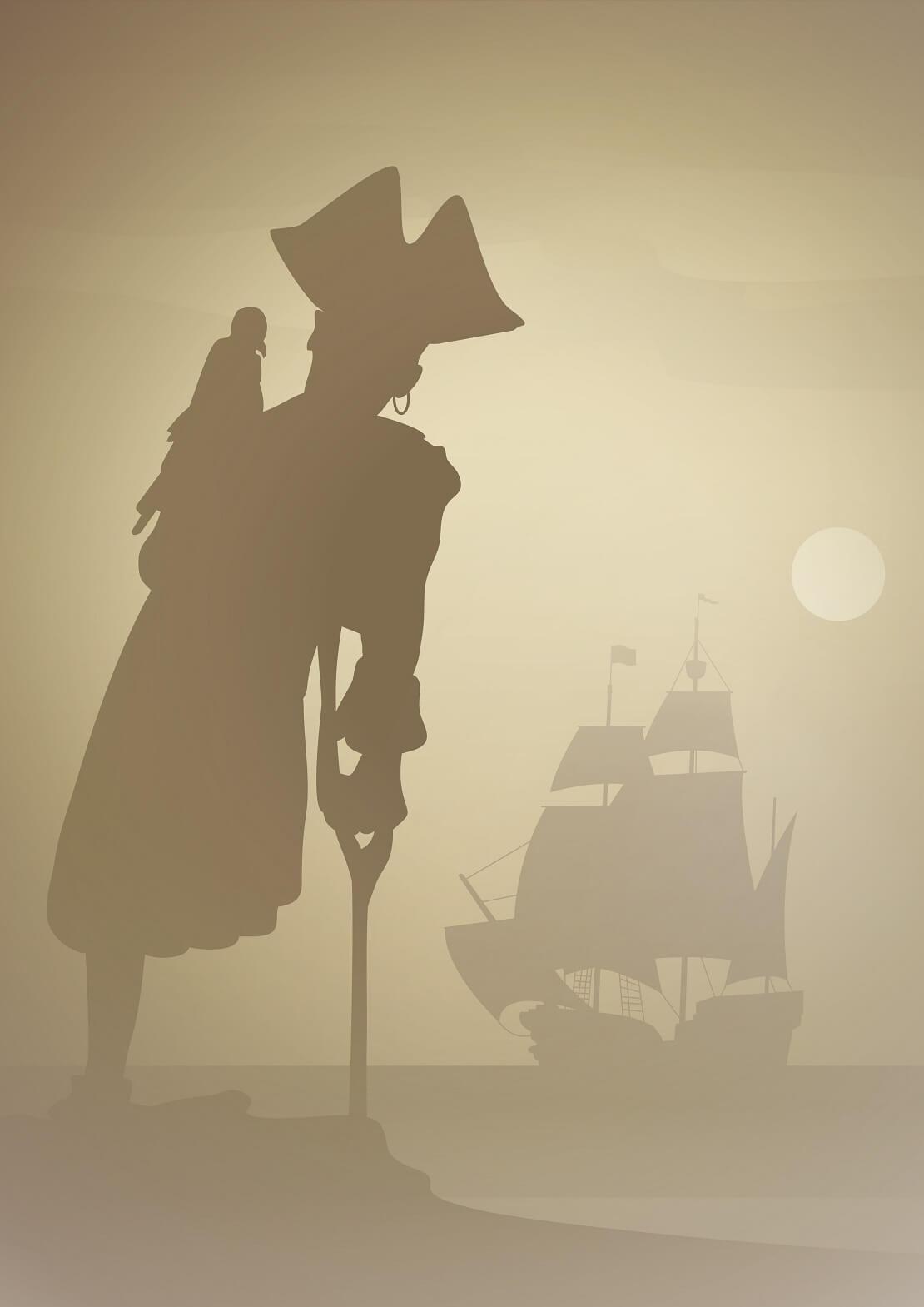 Pirat mit Papagei und Boot